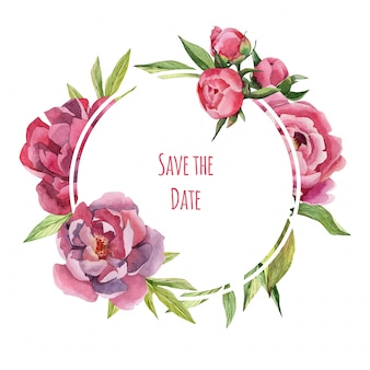 Hand drawn watercolor save the date card with peonies