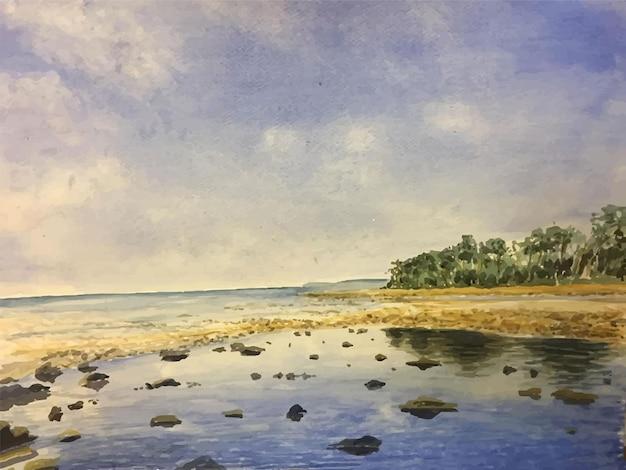 Нарисованная рукой иллюстрация сцены акварели с камнем в море