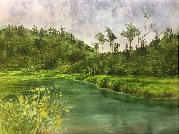 손으로 그린 수채화 바다와 산 녹색 장면 그림