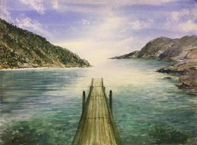 손으로 그린 수채화 바다와 산 장면 그림