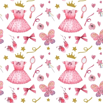 Hand drawn watercolor seamless pattern with pink little princess elements