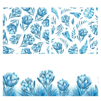 Hand-drawn watercolor seamless pattern with tropical flowers in blue tones. tropical background with flowers of protea