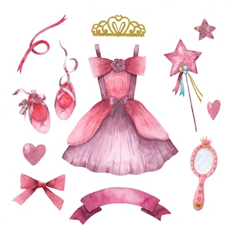 Hand drawn watercolor set of cute little princess accessories