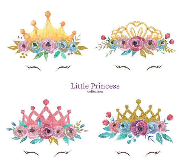 Hand drawn watercolor set of little princess crowns with flowers
