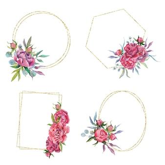 모란 골든 프레임 및 테두리 꽃 꽃다발과 준비의 손으로 그린 수채화 세트