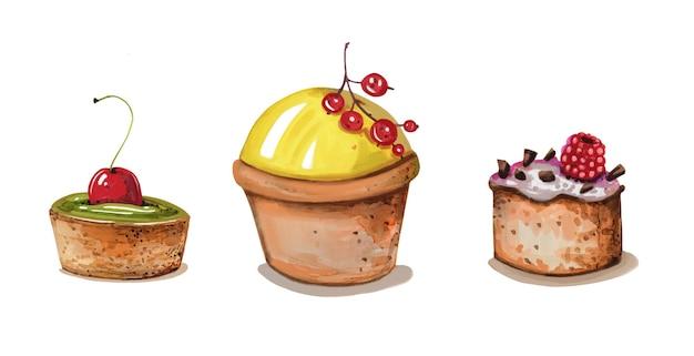 ベリーとお菓子の手描き水彩セット。