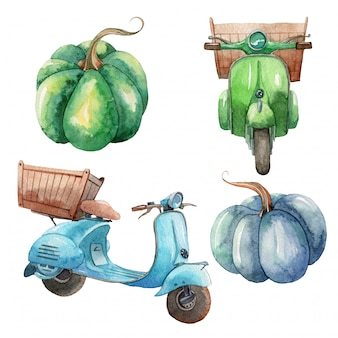 Hand drawn watercolor set of retro motorcycles and pumpkins