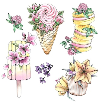 Hand drawn watercolor set of sweet desserts with flowers