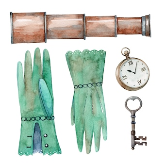 Hand drawn watercolor set of vintage adventure elements. spyglass, gloves, watches and key
