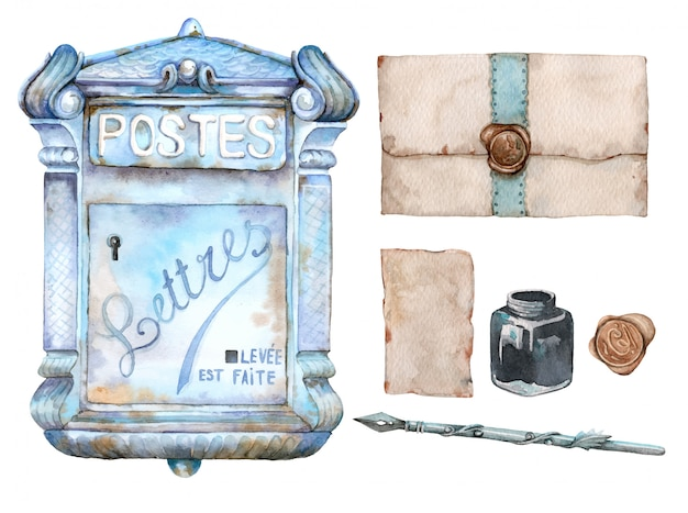 Hand drawn watercolor set of vintage mailbox, letters, inkwell and retro pen