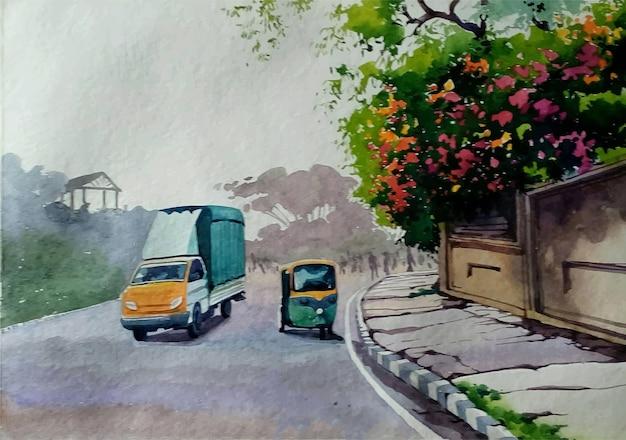 손으로 그린 수채화 거리 도시 그림
