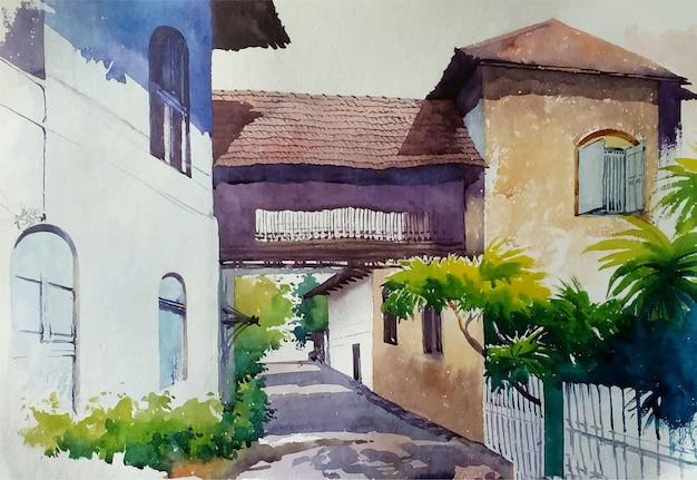 섬 그림의 오래 된 마을에서 손으로 그린 수채화 거리