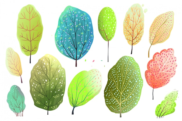 Hand drawn watercolor style set of abstract trees, or leaves. vector cartoon.