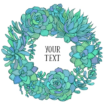 Hand drawn watercolor succulent wreath on white background card  for greeting or invitation,  illustration.
