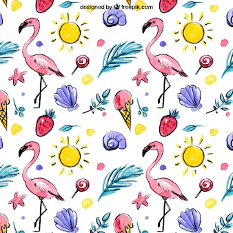 Hand drawn watercolor summer elements and flamingos pattern