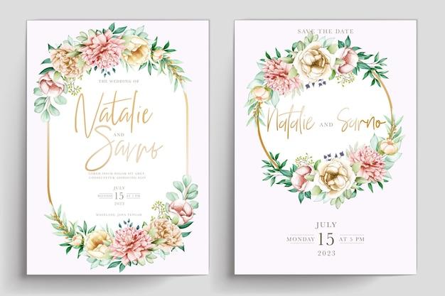손으로 그린 수채화 여름 꽃 카드 세트