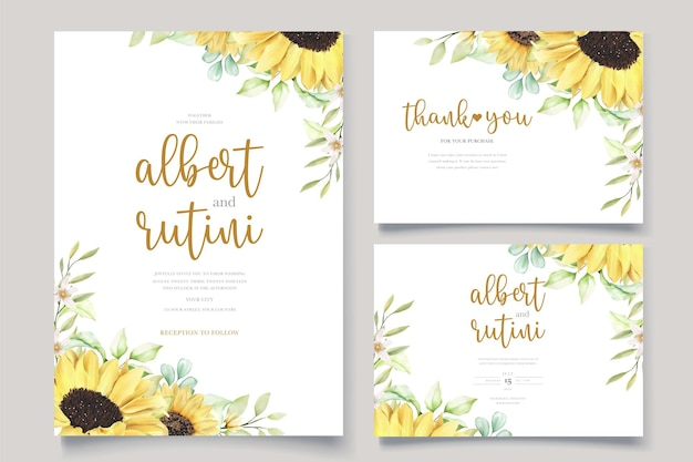 Hand drawn watercolor sunflower wedding card set