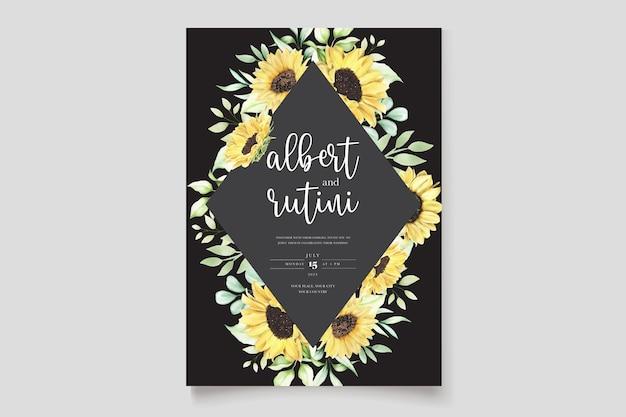Hand drawn watercolor sunflower wedding card