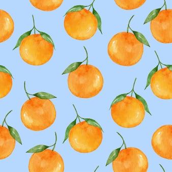 Ручной обращается акварель мандариновые фрукты бесшовный фон фон