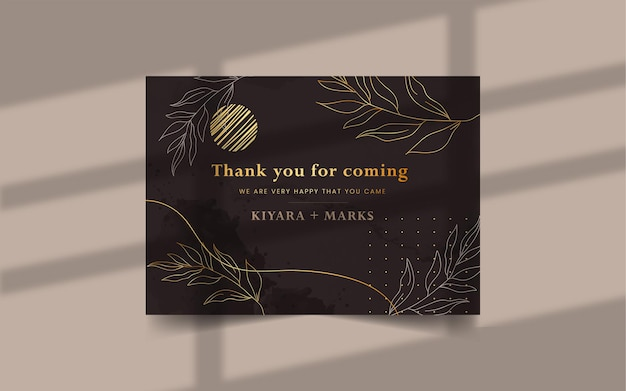 Hand drawn watercolor thank you card template