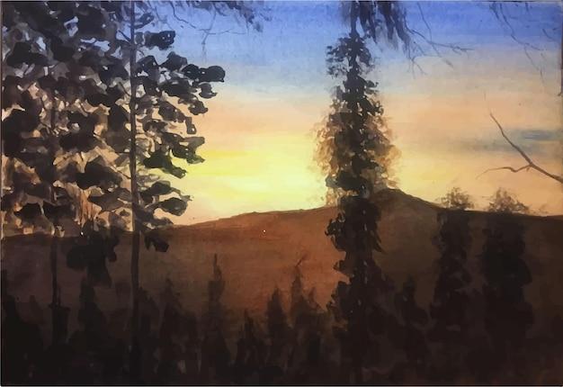 햇빛 일러스트와 함께 손으로 그린 수채화 나무