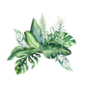 手描き水彩の熱帯の花の花束。エキゾチックなヤシの葉、ジャングルの木、ブラジルの熱帯植物要素と花。