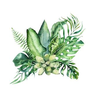 手描き水彩の熱帯の花の花束。エキゾチックなヤシの葉、ジャングルツリー、ブラジル熱帯植物の要素と花。