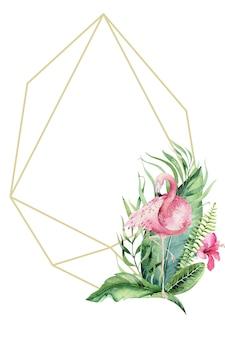 Ручной обращается акварель тропических золотых флорариумов с фламинго. экзотическая золотая флорариумная рамка иллюстрации для текста