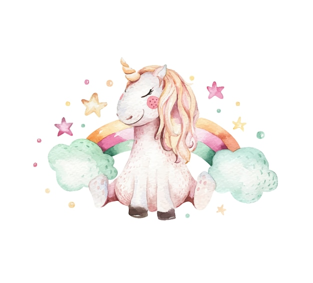 Hand drawn watercolor unicorn illustration. isolated cute watercolor unicorn. unicorn illustration. princess unicorn.