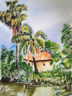 手描き水彩村のシーンイラスト