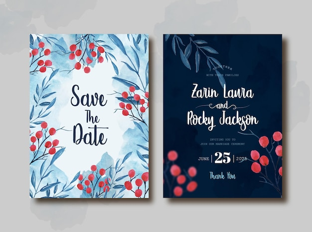 Hand drawn watercolor wedding card template