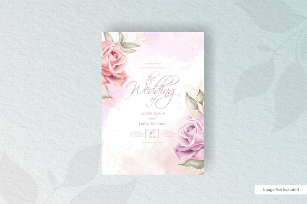 Hand drawn watercolor wedding invitation template with floral arrangement