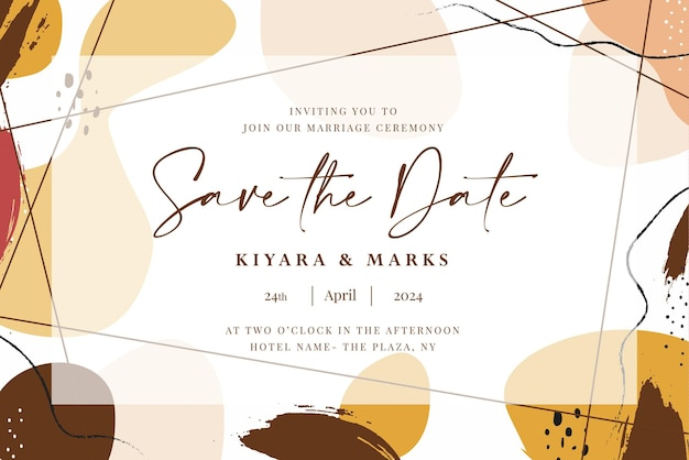 Hand drawn watercolor wedding save the date card template