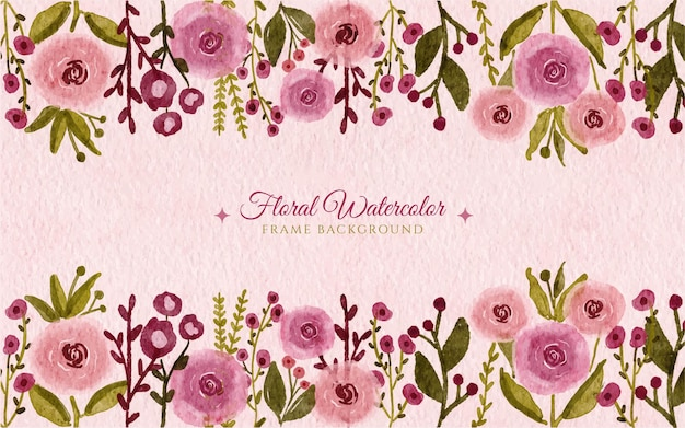 Hand drawn watercolor wild flower garden frame background