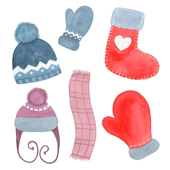 Hand drawn watercolor winter clothing hat, scarf, sock and mitten isolated on white