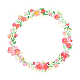 Hand drawn watercolor wreath with abstract flowers and leaves isolated on a white