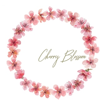 Hand drawn watercolor wreath with cherry pink flowers