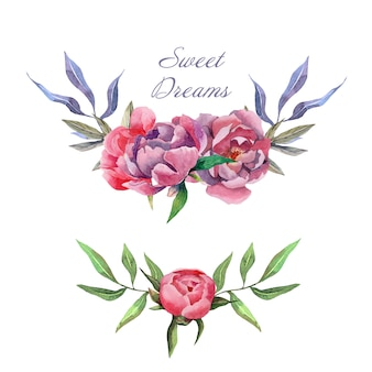 Hand drawn watercolor wreathes compositions with peony flowers and leaves