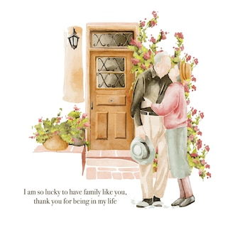 Hand drawn watercolour illustration of seniors couple near the doors in the garden