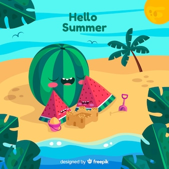 Hand drawn watermelon family summer background
