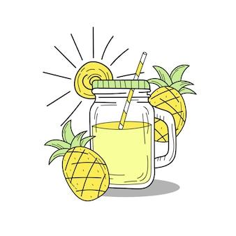 Hand drawn watermelon lemonade in a glass jar. vector on white