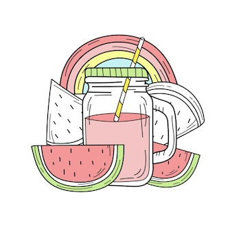 Hand drawn watermelon lemonade in a glass jar. vector