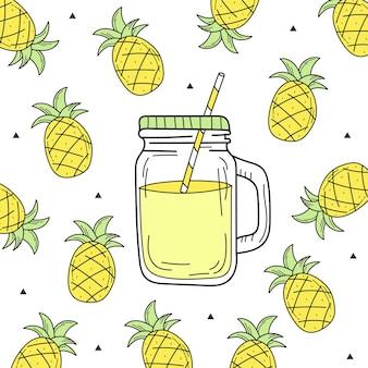 ガラスの瓶に手描きのスイカレモネード。白い背景の上のベクトル。新鮮な夏の飲み物