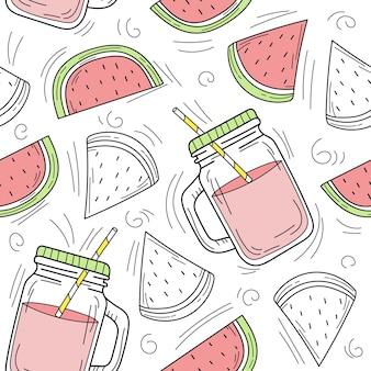 유리병에 손으로 그린 수박 레모네이드. 흰색 바탕에 벡터 완벽 한 패턴입니다. 신선한 여름 음료