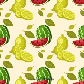 Hand drawn watermelon and limes pattern