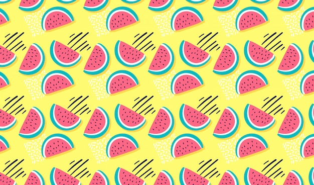 Hand drawn watermelon seamless pattern