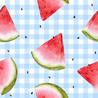 손으로 그린 수박 여름 원활한 패턴 배경