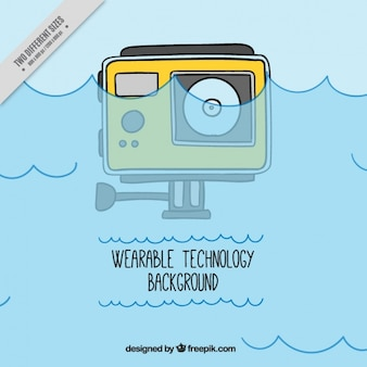Hand drawn waterproof digital camera background