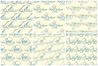 手描きの波ベクトルシームレスなパターンが設定されて