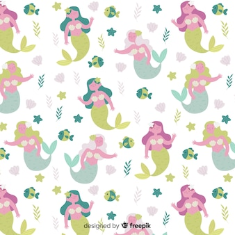 Hand drawn waving mermaid pattern
